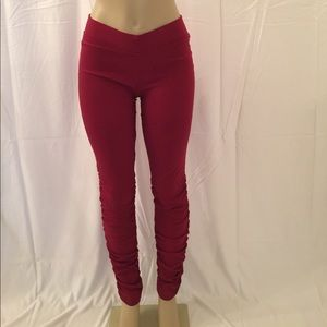 Pants - Burgundy Ruched Leg Pants